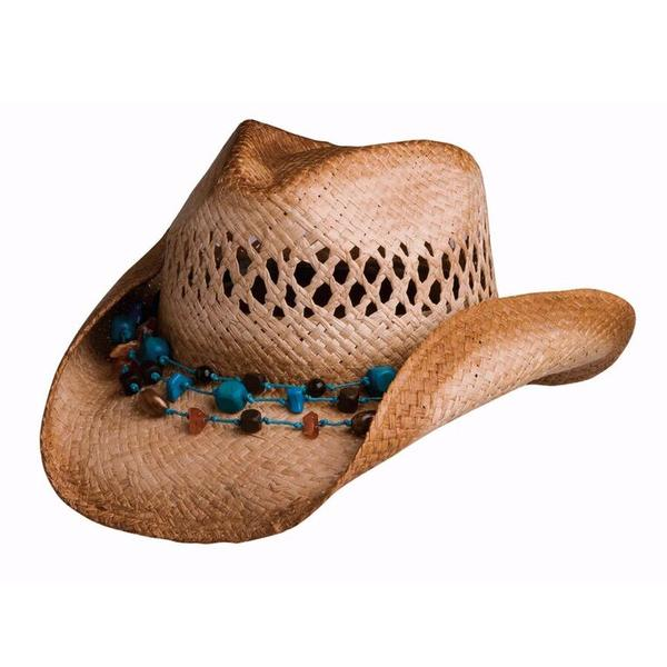 Conner Handmade Hats Cowboy Western Style Raffia: Heather Cowgirl Necklace Hatband Caramel