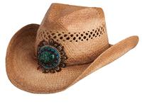 Conner Handmade Hats Cowboy Western Style Raffia: Bead Concho and Feathers Navajo Caramel