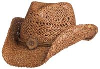 Conner Handmade Hats Cowboy Western Style Maize: San Diego Hatband of Cord and Button Clay One Size