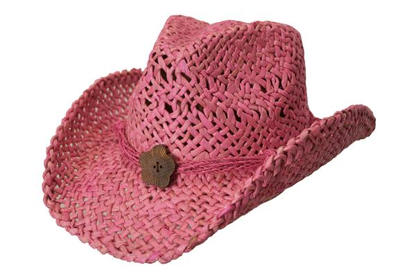 Conner Handmade Hats Cowboy Western Style Maize: San Diego Hatband of Cord and Button Pink One Size