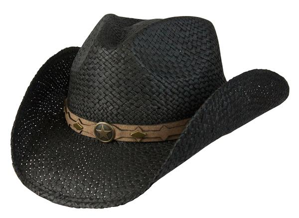 Conner Handmade Hats Cowboy Western Style Raffia: Hatband of Leather with Metal Star Black
