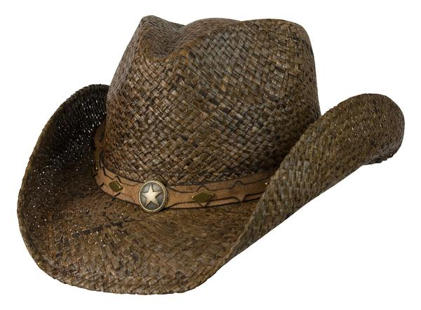 Conner Handmade Hats Cowboy Western Style Raffia: Hatband of Leather with Metal Star Dark Brown