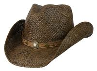 Conner Handmade Hats Cowboy Western Style Raffia: Hatband of Leather with Metal Star Dark Brown S/M, L/XL