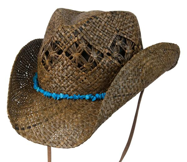 125031B - Conner Handmade Hats Cowboy Western Style Raffia  Hatband of  Turquoise Colored Stones Cascade Mountain Dark Brown One Size 57c13bff37a5