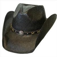 Conner Handmade Hats Cowboy Western Style Toyo: Hat Band of Concho and Xs Black S/M, L/XL