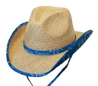 Conner Handmade Hats Cowboy Western Style Raffia: Kids Country Bandana Print Blue