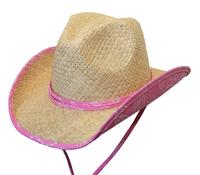 Conner Handmade Hats Cowboy Western Style Raffia: Kids Country Bandana Print Pink