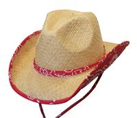 Conner Handmade Hats Cowboy Western Style Raffia: Kids Country Bandana Print Red