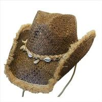 Conner Handmade Hats Cowboy Western Style Raffia: Kandui Island Hat Band of Shells and Raffia Brown One Size Fits Most