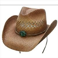 Conner Handmade Hats Cowboy Western Style Raffia: Mojave Hat Band with Turquoise Colored Concho Backordered