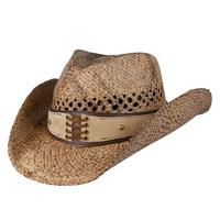 c3f6d42b924 125071 - Conner Handmade Hats Cowboy Western Style Raffia  Hat Band Corset  Faux Suede Easy Going Coffee One Size