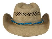 Conner Handmade Hats Cowboy Western Style Raffia: Hat Band with Colored Stones Natural