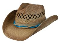 Conner Handmade Hats Cowboy Western Style Raffia: Hat Band with Colored Stones Caramel