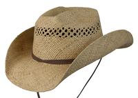 Conner Handmade Hats Cowboy Western Style Raffia: Leather Trim Jasper Natural
