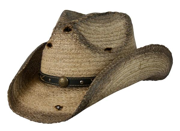 Conner Handmade Hats Cowboy Western Style Raffia: Hatband with Brass Conchos Bullet Holes Six Shooter Coffee