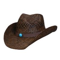 Conner Handmade Hats Cowboy Western Style Raffia: Classic Western Brown Backordered