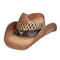 Conner Handmade Hats Cowboy Western Style Raffia: Longhorn Accent Caramel One Size