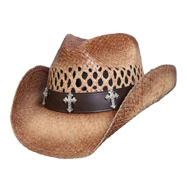 Conner Handmade Hats Cowboy Western Style Raffia: Crystal Crosses Caramel One Size