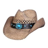 Conner Handmade Hats Cowboy Western Style Raffia: Sunburst Faux Leather Hatband Coffee One Size
