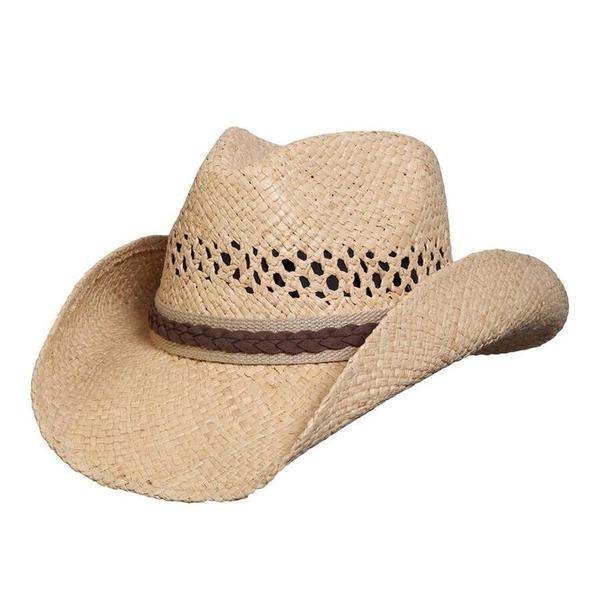 Conner Handmade Hats Cowboy Western Style Raffia: Good Day Natural S/M, L/XL
