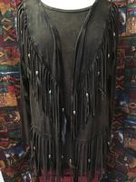 A Pat Dahnke Signature Collection: Distressed Feather and Fringe Jacket
