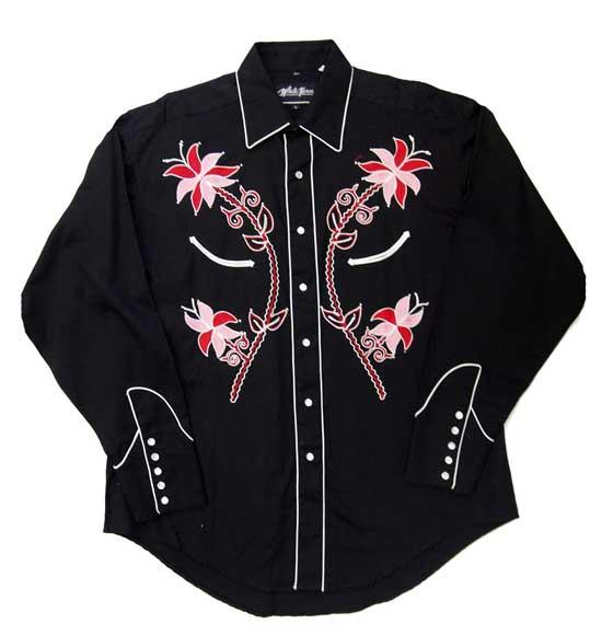 White Horse Ladies' Vintage Western Shirt: Embroidered Floral Black