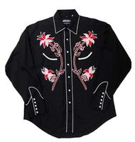 White Horse Ladies' Vintage Western Shirt: Embroidered Floral Black S-XL