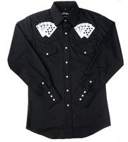 White Horse Men's Vintage Western Shirt: Embroidered Royal Flush Black