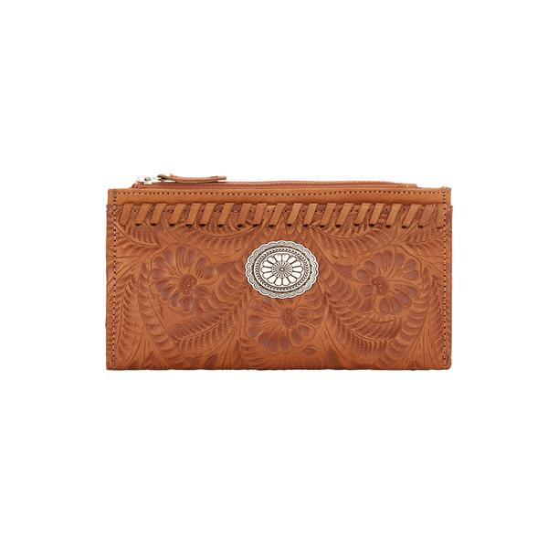 American West Handbag Foldover Wallet Collection: Tooled Golden Tan