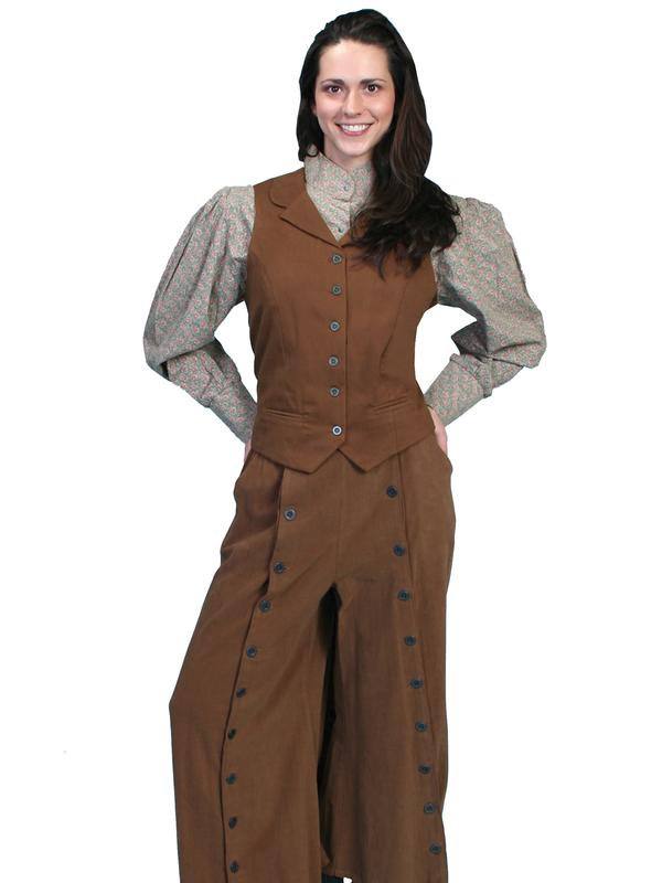 Scully Ladies' Old West Pant Skirt: Rangewear Riding Split Skirt Button Brown
