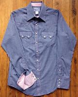 Rockmount Ranch Wear Men's Western Shirt: A Check Gingham Navy Blue Contrast Pink Slim Fit 14.5-17.5