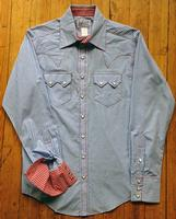 Rockmount Ranch Wear Men's Western Shirt: A Check Gingham Light Blue Contrast Red Slim Fit 14.5-17.5
