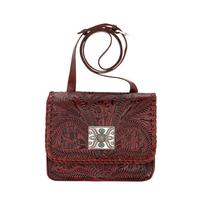 American West Handbag A Grand Prairie Collection: Leather Cross Body Flap Crimson