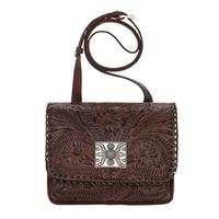 American West Handbag A Grand Prairie Collection: Leather  Crossbody Flap Chestnut