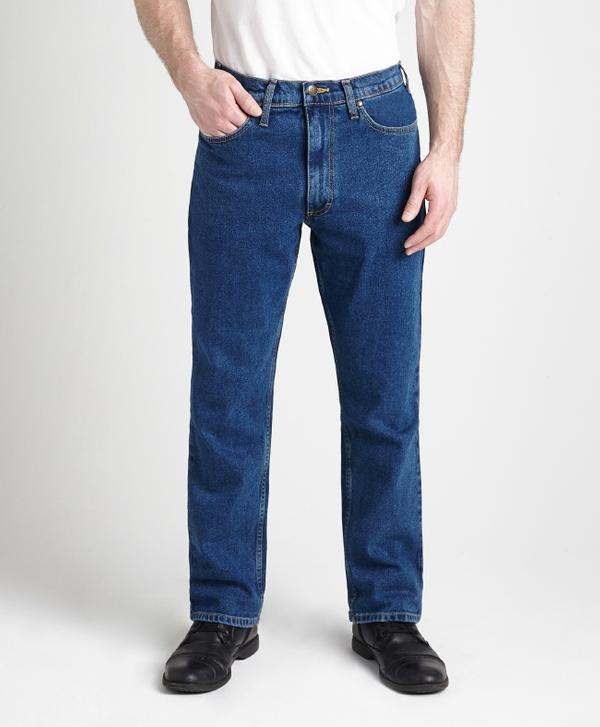 Grand River Clothing Jeans: Regular Size Denim Stretch Traditional Straight Cut Medium Stone Wash 32-42