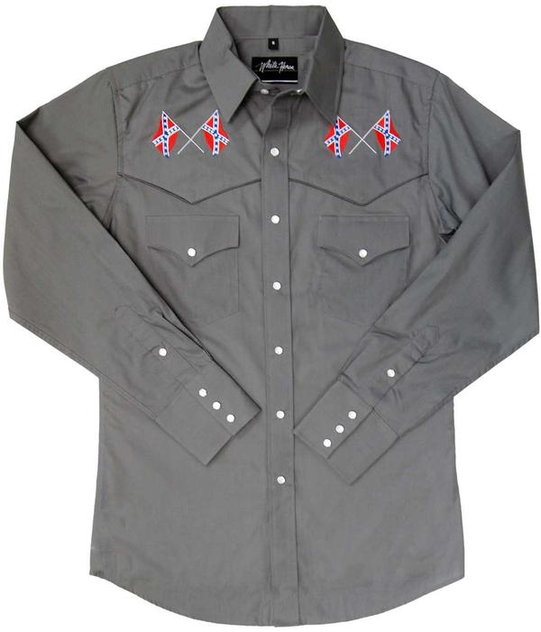 White Horse Men's Vintage Western Shirt: Embroidered Confederate Flag Grey