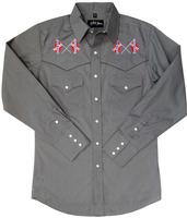 White Horse Men's Vintage Western Shirt: Embroidered Confederate Flag Grey S-2XL