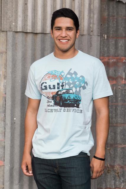 M&P Speed Shop Men's T-Shirt: Gulf Raceway Service Blue XS-4XL