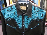 Scully Men's Vintage Western Shirt: The Gunfighter Black & Turquoise