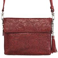 Concealed Carry Crossbody Shoulder Bag Tooled Black Cherry