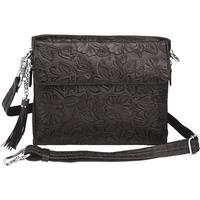 Concealed Carry Crossbody Shoulder Bag Tooled Black