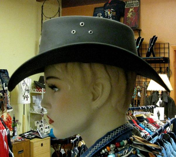 3c3ac87cbb1 ... Conner Handmade Hats Cowboy Western Style Leather  Buffalo Outback Down  Under Brown ...