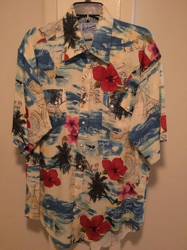 Rockmount Ranch Wear Men's Western Shirt: Print Short Sleeves Hawaiian DEAL