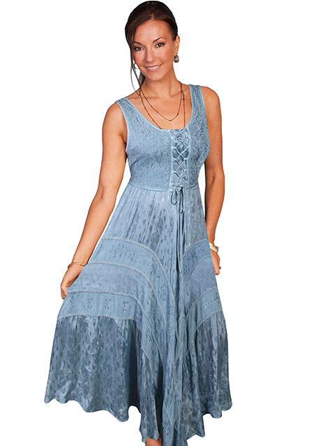 Scully Ladies' Honey Creek Collection Dress: Sleeveless Lace Up Front Ash Grey