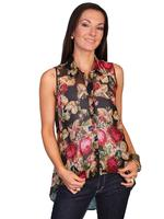 Scully Ladies' Honey Creek Collection Blouse: Sleeveless Tunic Rose Print SALE