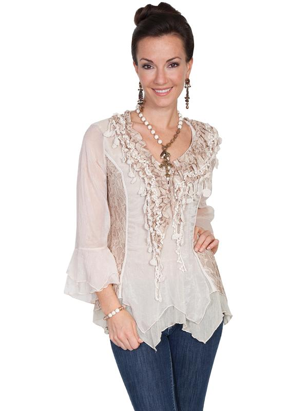 Scully Ladies' Honey Creek Collection Blouse: Pullover Elbow Sleeve Knit with Lace V Neck Natural S-XL