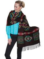 Scully Ladies' Honey Creek Collection Accessory: Wrap with Fringe Aztec Design One Size