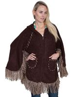 Scully Ladies' Honey Creek Collection: Poncho with Hood and Zip Front  Brown One Size