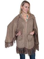 Scully Ladies' Honey Creek Collection: Poncho with Hood and Zip Front Taupe One Size