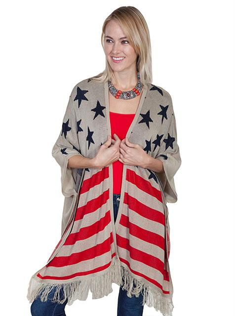 Scully Ladies' Honey Creek Collection Sweater: Flag Acrylic S-M SALE